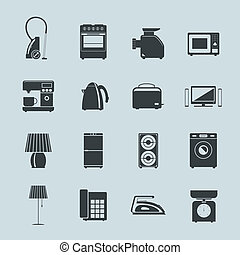 Set of household appliances silhouette icons with a vacuum...