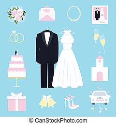 Suit and gown surrounded by wedding icons - Suit and bridal...