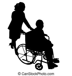 Silhouettes of woman in wheelchair with woman pushing her