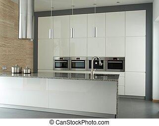 moderno, cocina, interior, blanco