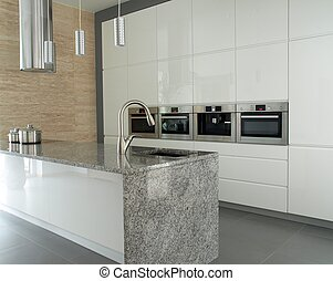 Modern kitchen with granite countertop - Modern minimalist...