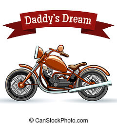 Colored retro motorcycle design on white background
