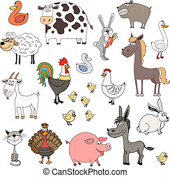 farm animals - hand drawn farm animals set vector...
