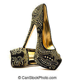 High heels shoes with rhinestones - Fashionable High heels...