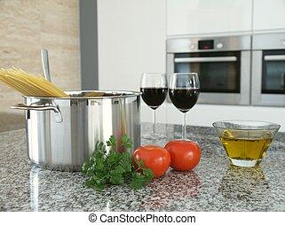 Cooking spaghetti. - Close-up of fresh spaghetti components...