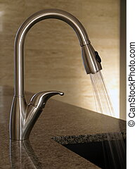 Stainless steel kitchen tap - Kitchen tap with running water...