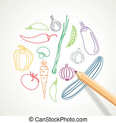 Vector Background with Abstract Vegetables - Vector...