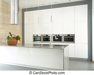 Minimalist white kitchen with built-in appliances - Shopping...