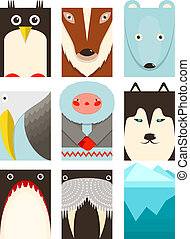 Flat Arctic and North Pole Symbols Set - North pole animals...