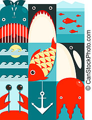 Flat Sea and Fish Rectangular Nautical Set - Marine design...