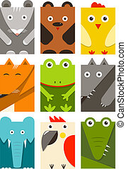 Flat Childish Rectangular Animals Set - Animals design...