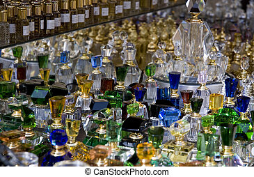 Perfume bottles on a market stand in Dubai