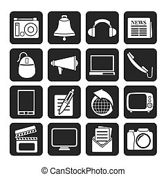 Communication and media icons - Silhouette Communication and...