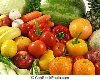 Agriculture - vegetables and fruits - Colorful background...