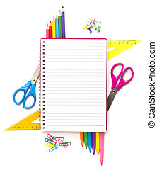 Notebook with stationary objects supplies in the background