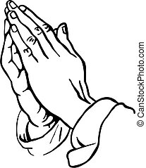 Praying Hands - Black and white line drawing illustration of...