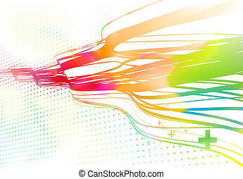 Curved colored lines background - illustration of wavy...