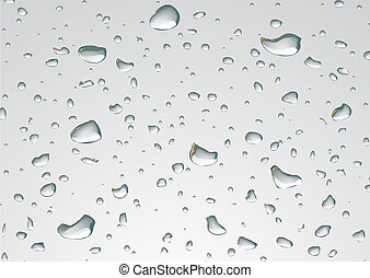 Water drops -  illustration of water drops on a clear glass