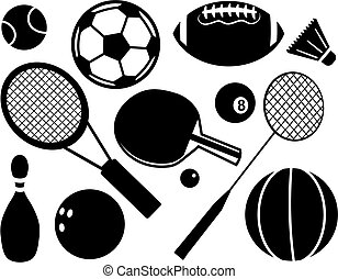 Sport Icons - A set of black and white sport and games...