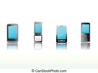 Black mobile phones icon set - illustration - set of elegant...