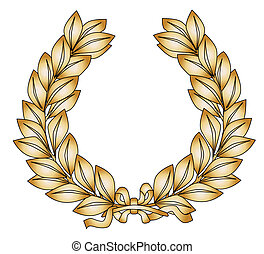 Gold Laurel - A wreath with ribbon in gold celebrating a 1st...