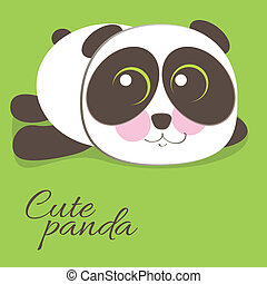 Cute young baby panda bear . Vector illustration.
