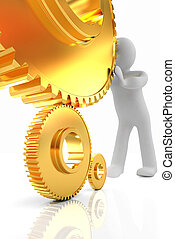 Gold gear set with 3d man on a white background
