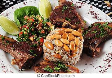 Lebanese cuisine - T-Bone lamb with rice and tabbouleh