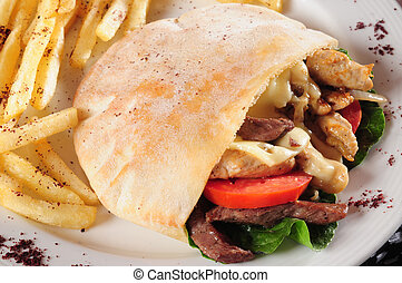 Gyro Sandwich - Stuffed pita bread with meat and meat