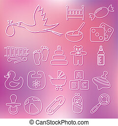 outline baby icons
