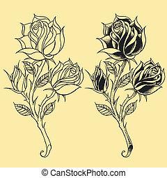 Roses Oldskool Tattoo style element - Roses Oldskool Tattoo...