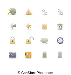 web icons - set of elegant simple icons for common computer...