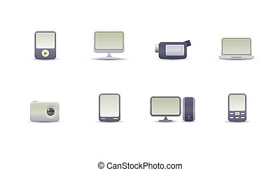 digital media devices - set of elegant simple icons for...
