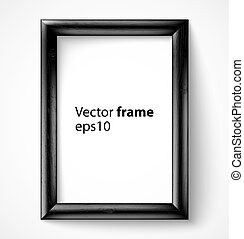 Black wooden rectangular 3d photo frame with shadow Vector...