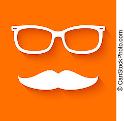 White hipster glasses and mustache on orange background...