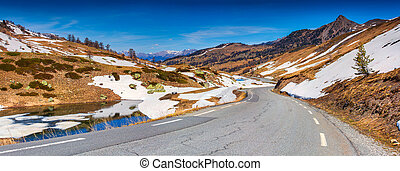 Panorama of the pass Col De Vars, Alps, France, early spring...