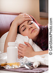 Woman with strong flu