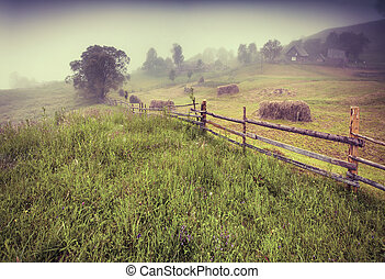 Haymaking in a Carpathian village. Retro style.