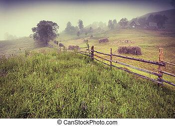 Haymaking in a Carpathian village. Retro style.