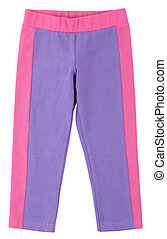 Purple-pink sweatpants isolated on white - Purple-pink...