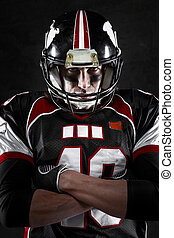 american football player with intense gaze - Portrait of...