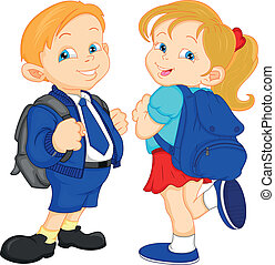 school boy and girl with bag illustration