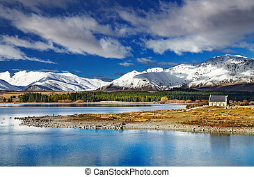 Lake Tekapo, New Zealand - Lake Tekapo and Church of the...