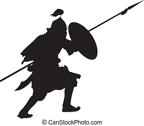 Oriental warrior with shield and spear detailed vector...
