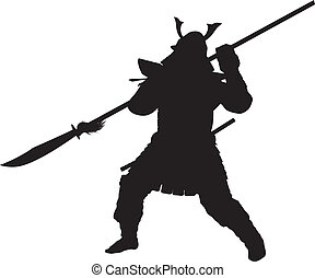Samurai. Warriors Theme - Samurai warrior with halberd...