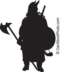 Viking silhouette. Warriors Theme - Viking with axe detailed...