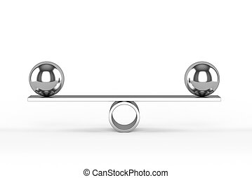 Concept of balance - 3d render of balanced chrome spheres....