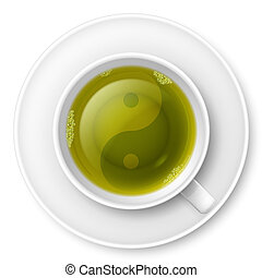 Tea ceremony - Cup of green tea with traditional Chinese...