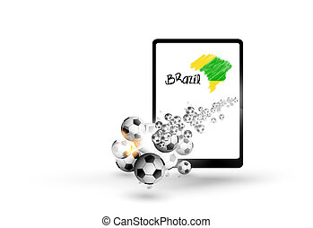 Tablet illustration brazil map with soccer ball,  easy all editable text or other elements