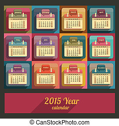 Flat calendar 2015 year design, English, Sunday start